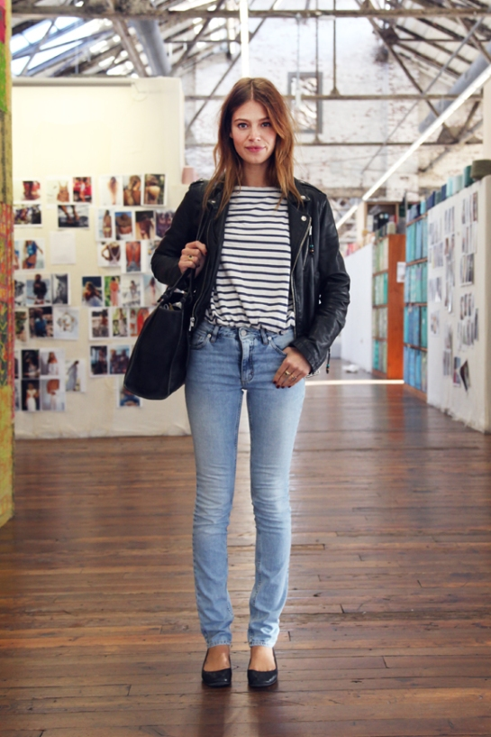Mila-model-stripes-and-leather